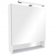 Зеркало Gap 70х85 см, шкаф, белый глянец, с подсветкой