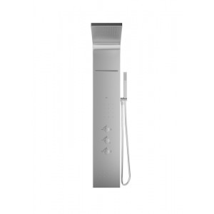 Душевая панель без излива Evolution стальной цвет, термостат, с г/м, верхний душ, с лейкой