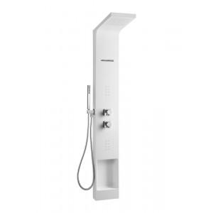 Душевая панель без излива Eternal белый цвет, термостат, с г/м, верхний душ, с лейкой