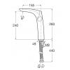 Высокий смеситель на столешницу Insignia 26 см, неповоротный излив, без донного клапана, холодный старт
