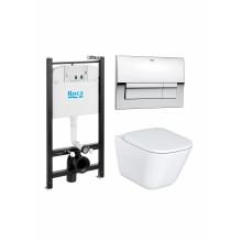 Комплект унитаза с инсталляцией Gap подвесной унитаз+инсталляция+кнопка+сиденье тонкое, безободковый, с микролифтом, быстросъемное